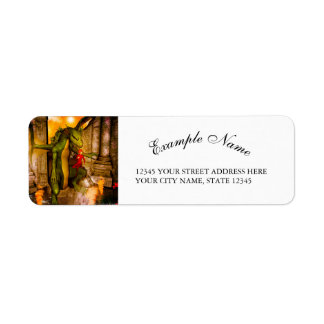 Dragon with a girl between ruins return address label