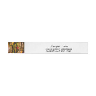 Dragon with a girl between ruins wraparound address label