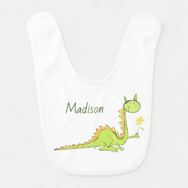 Dragon with flower baby bib