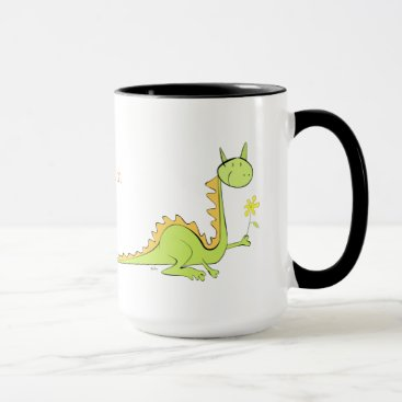 Dragon with flower mug