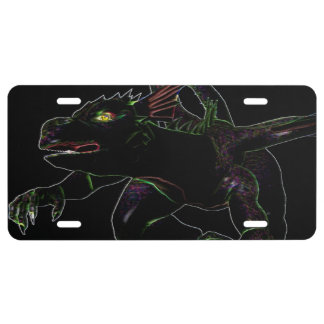 Dragon with glowing edges license plate