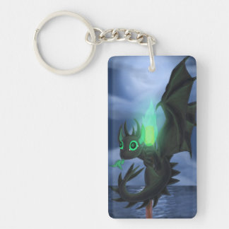 Dragon With Green Fire Keychain