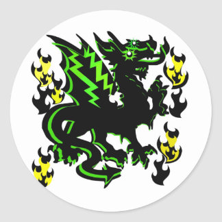 DRAGON WITH GREEN LIGHTNING AND FLAMES GRAPHIC CLASSIC ROUND STICKER