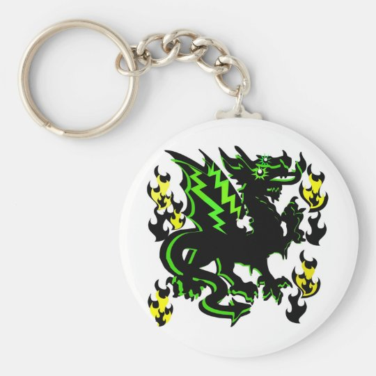DRAGON WITH GREEN LIGHTNING AND FLAMES GRAPHIC KEYCHAIN