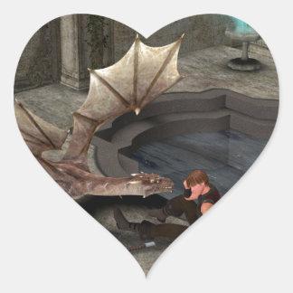 Dragon with his companion heart sticker