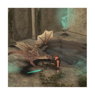 Dragon with his companion wood wall art