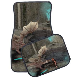 Dragon with his companion floor mat