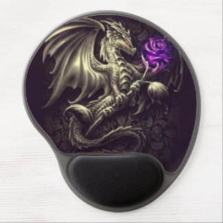 Dragon with Purple Rose Gel Mousepad