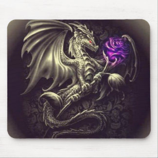 Dragon with Purple Rose Mousepad