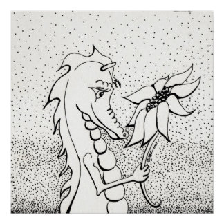Dragon With Sunflower Poster