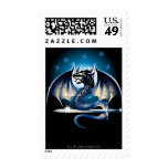 Dragon with sword postage stamp