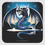 Dragon with sword square stickers