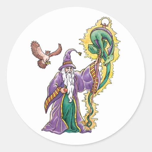 dragon wizard round stickers