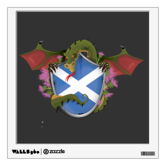 Dragon wrapped around Scottish Shield Wall Sticker