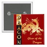 Dragón y bandera de oro pins