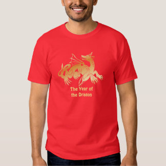 Dragón y bandera de oro remera