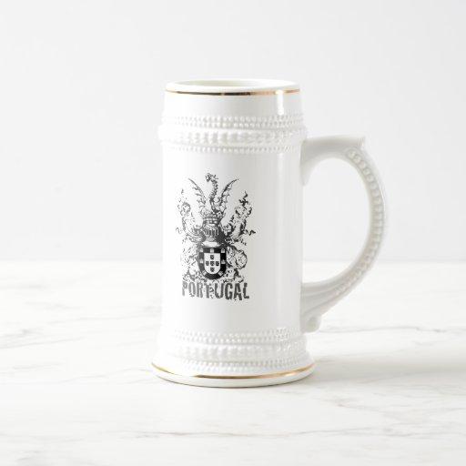 Dragón y caballero del escudo taza