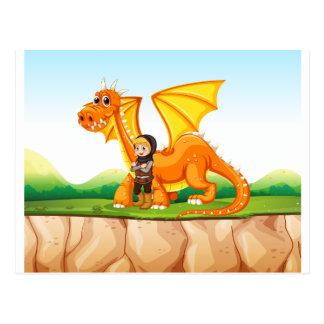 Dragón y caballero postales