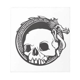 Dragón y cráneo bloc de papel
