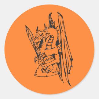Dragón y espada etiquetas redondas