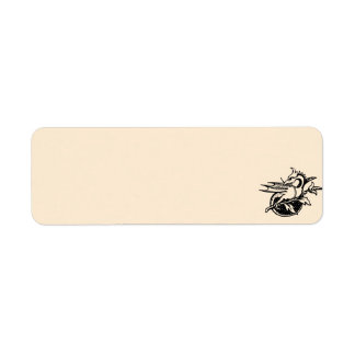 Dragón y flor etiquetas de remite