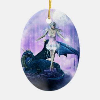 Dragón y hada azules adorno navideño ovalado de cerámica