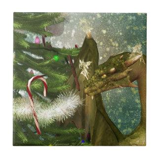 Dragón y hadas del navidad azulejo cuadrado pequeño