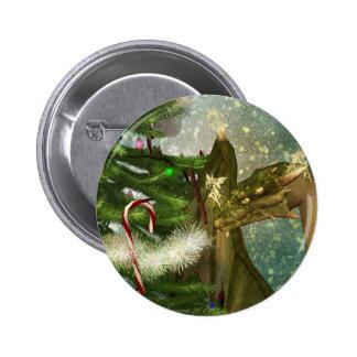 Dragón y hadas del navidad pin redondo 5 cm