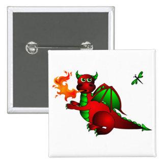 Dragón y libélula rojos pin cuadrada 5 cm