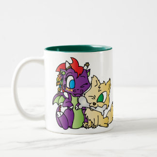 Dragón y lobo del bebé taza de café