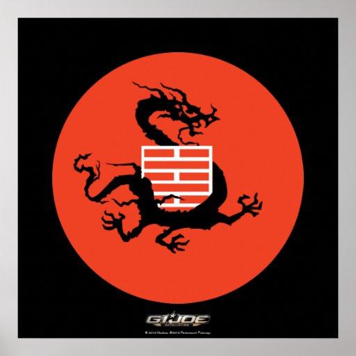 Dragón y logotipo de Ninja Póster