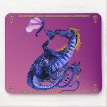 Dragón y mariposa azules Mousepad Alfombrilla De Ratón