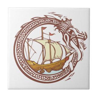 Dragón y nave tejas  cerámicas