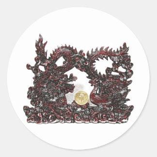 Dragón y Phoenix de Feng Shui Pegatina Redonda