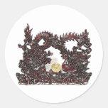 Dragón y Phoenix de Feng Shui Pegatinas Redondas