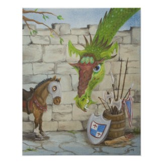 Dragón y poster del caballo de guerra