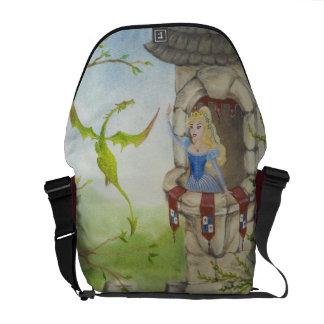 Dragón y princesa la bolsa de mensajero bolsas de mensajería