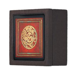 Dragón y rojo del emblema de Phoenix Caja De Recuerdo De Calidad