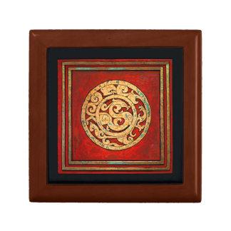 Dragón y rojo del emblema de Phoenix Joyero Cuadrado Pequeño