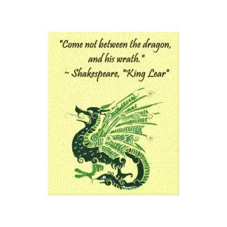 Dragón y su rey Lear Cartoon de Shakespeare de la Impresiones En Lona