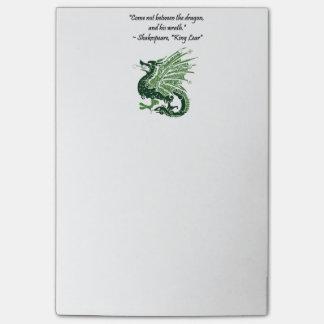 Dragón y su rey Lear Cartoon de Shakespeare de la Post-it Nota