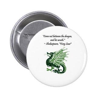 Dragón y su rey Lear Cartoon de Shakespeare de la Pin Redondo De 2 Pulgadas