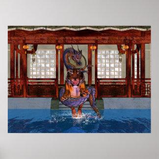 Dragón y tigre chinos con el ir de discotecas poster