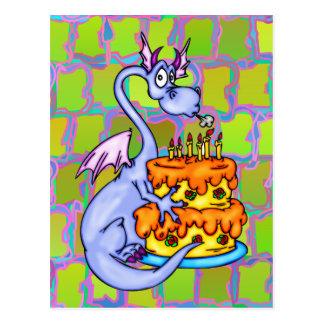 Dragón y torta de cumpleaños postales