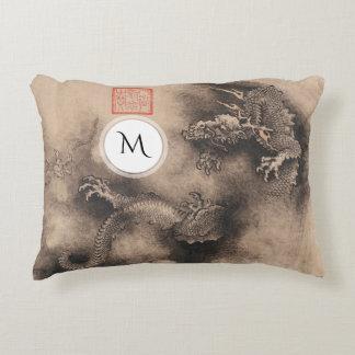 Dragon Year Chinese Zodiac sign Monogram A Pillow