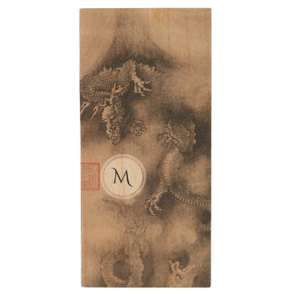 Dragon Year Chinese Zodiac sign Monogram USB Wood USB Flash Drive