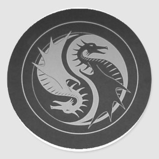 Dragón Yin/pegatina de Yang Pegatina Redonda