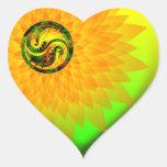Dragón Yin Yang Calcomanía De Corazón
