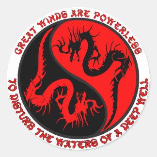 Dragon Yin Yang Classic Round Sticker