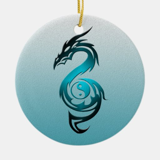 Dragon yin yang cyan ceramic ornament